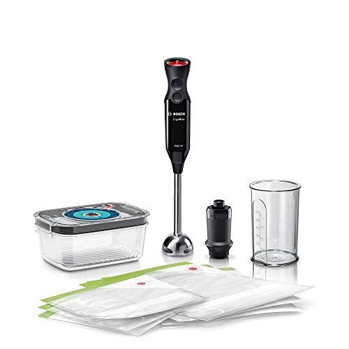 Bosch ErgoMixx Hand Blender - Frullatore a Immersione Portatile con Sistema Sottovuoto, 1000 W, 12 Impostazioni di Velocità, Lama a 4 Ali, Bicchiere Graduato e Accessori per Sottovuoto