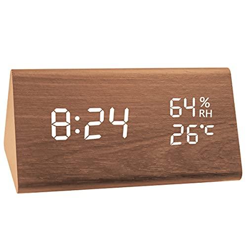LED Digitaler Wecker, Dreieck Holz Wecker Uhr Modern Tischuhr,Digitalwecker Tischuhr mit Sprachsteuerung/Snooze Funktion/Datum/Temperatur und Luftfeuchtigkeit