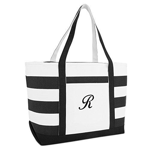 DALIX Striped Beach Bag Tote Bags Satchel Personalized Black Ballent Letter R