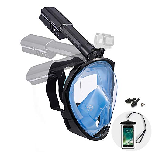 Dekugaa Full Face Snorkel Mask, Adult Snorkeling Mask with Detachable Camera Mount, 180 Degree Panoramic Viewing Upgraded Dive Mask with Safety Breathing System (Black Blue, Large)