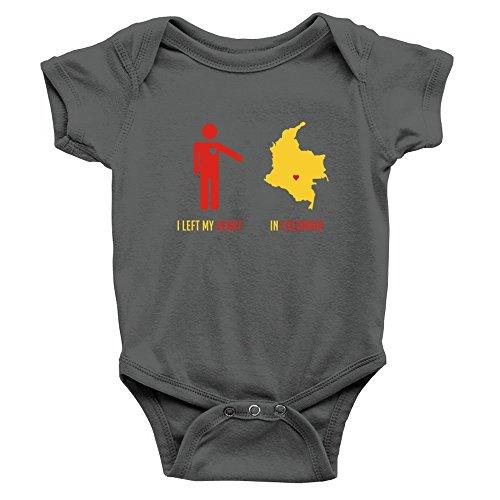 Teeburon I Left MY Heart IN Colombia Map Body de bebé