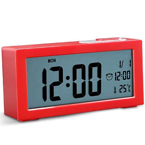 LXDDP Sveglia Comodino Non Ticking Orologio Digitale a Batteria Ampio Display Tempo Temperatura Retroilluminazione Regolabile con Funzione Snooze per la casa