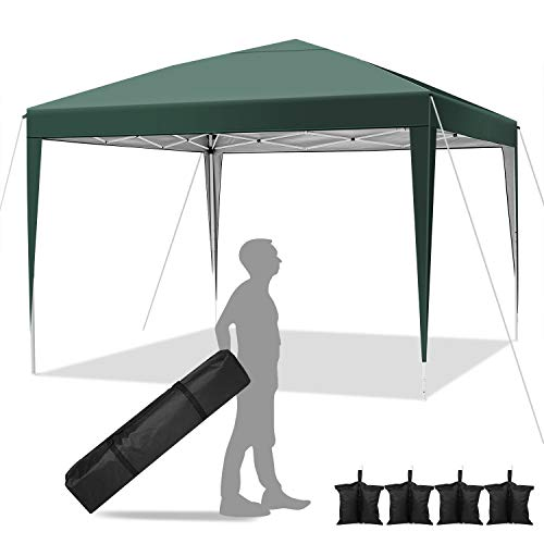 YUEBO Pavillon 3x3 Zelt Pavillon Faltbar Faltpavillon Wasserdicht Popup Gazebo Partyzelt Gartenpavillon mit 4 Sandsack