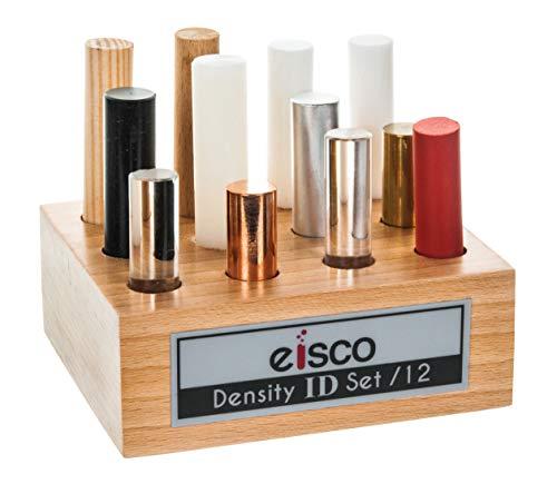 12pc Cylindrical Bars Density ID Set - Hardwood, Softwood, Aluminum, Copper, Brass, Rubber, Nylon, Derlin, PVC, Glass, Acrylic & Teflon - Includes Storage Block - Study Density & Mass - Eisco Labs