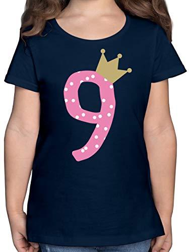 Geburtstag Kind - 9. Geburtstag Krone Mädchen Neunter - 140 (9/11 Jahre) - Dunkelblau - Geburtstagsgeschenk für mädchen 9 Jahre - F131K - Mädchen Kinder T-Shirt