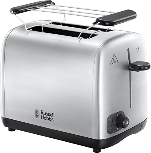 Russell Hobbs Toaster Adventure, Perfect-Toast-Technologie, inkl. Brötchenaufsatz, 6 einstellbare Bräunungsstufen + Auftau- & Aufwärmfunktion, 850 Watt, 24080-56, Edelstahl
