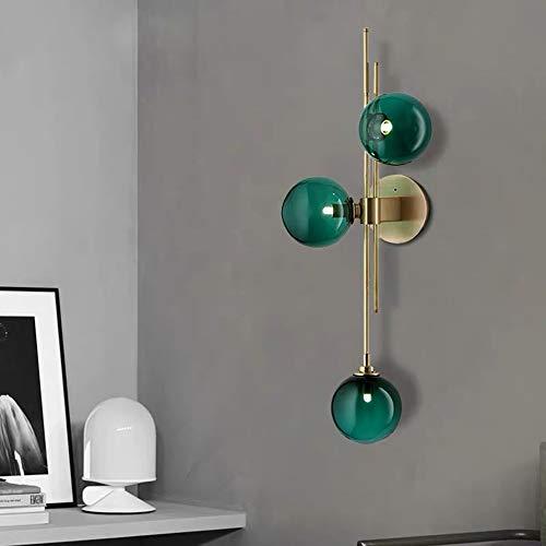 boaber Botella Nordic Moderno Minimalista Lámpara De Pared De Vidrio Pasillo Pasillo Sala De Estar Dormitorio Estudio 28 * 74 Cm Oro Verde Oscuro