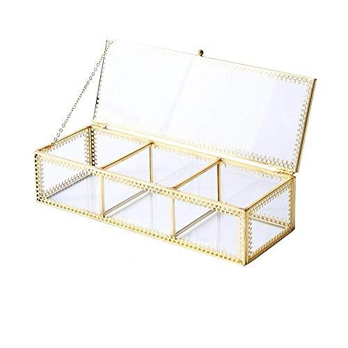 WNN-URG Goldene Vintage-Glasdeckel Rechteckige Schmuckkaste, transparentes Glas und Messing Metallaufbewahrungsschmuckschatulle, kosmetischer Aufbewahrungsbehälter mit Deckel for Beauty-Anzeige UR