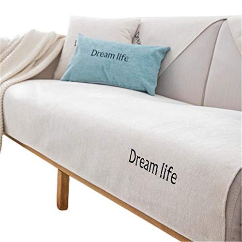 Funda de sofá Antideslizante de Chenilla,Protector Universal para sofá,Almohadillas seccionales Acolchadas para sofá,Protector de Muebles,Beige,90x120cm