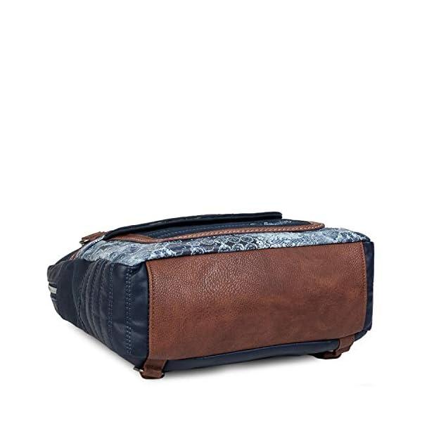 41hTHDIbAML. SS600  - SKPAT - Bolso Mochila de Mujer. Diseño Casual. Práctico Cómodo Ligero y Resistente. Lona Estampada y Cuero PU Bonito Diseño. Estilo Elegante. Llavero. 304524, Color Azul