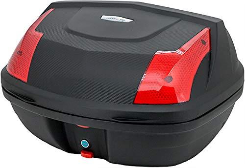 Motorradkoffer Top Case Helmkoffer Rollerkoffer R46N 46 Liter Füllvolumen Topcase Carbon Optik universal für Roller Motorräder Mofas und Quads