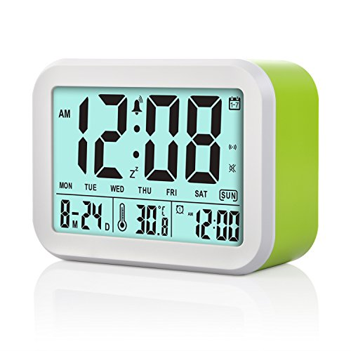 Digital alarm clock Talking Clock 3 Alarms Intelligent Optional Weekday Alarm Noctilucent & Snooze Function Month Date & Temperature Display for Adults Bookshelves, bedrooms (Green )