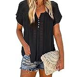 Pabuyafa Blusa plisada de manga corta para mujer, estilo casual, color sólido, con botones en V, cuello en V, blusa plisada, Negro, S