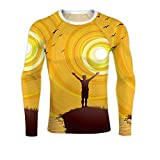 Open Arms to The Joy of Nature Sunrise Dawn,Dry Fit Long Sleeve Compression Running Shirts Summer M