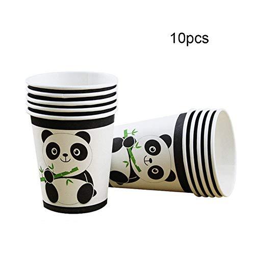 FairytaleMM 10 Stücke Panda Geburtstag Festerval Hochzeit Dekorative Werkzeuge Holiday Party Besteck Pappbecher Papierkassette