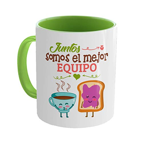 Kembilove Taza Graciosa Pareja - Taza de Desayuno Juntos Somos el Mejor Equipo - Regalo Original de Taza de café con Frases graciosas - Regalo para Parejas, Enamorados, San Valentín