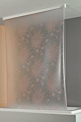 ECO-DuR 4024879000257 Kassetten Duschrollo 134 cm weiß - Seerosen flieder