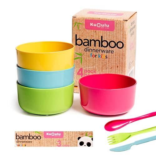 Kuxulu - Cuencos Cocina Bambu Infantil - Set 4 Piezas + 3 Cubiertos - Vajilla Bebe Bambu Libre de BPA - Apto para Lavavajillas - Bol Desayuno