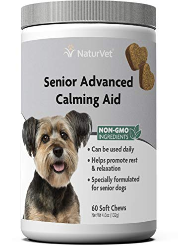 NaturVet – Senior Advanced Calming Aid – Helps Reduce Stress & Promote Relaxation – Great for Storms, Fireworks, Separation, Travel & Grooming – 60 Soft Chews