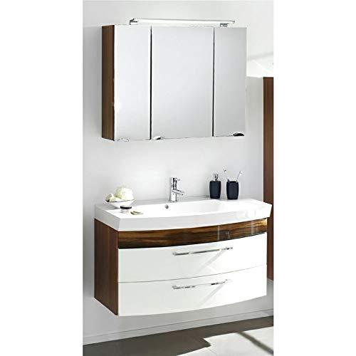 Lomadox Badmöbel Waschplatz Set in Hochglanz weiß mit Walnuss, 100cm Waschtisch & LED-Spiegelschrank
