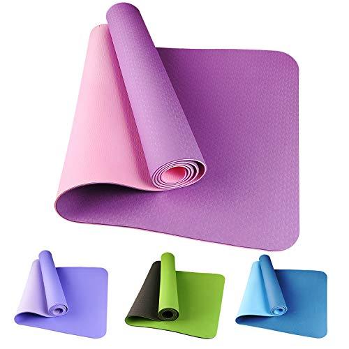 Etmury Tapis de Yoga en TPE Matériaux,Tapis de Sport Fitness Tapis De Gymnastique Ultra épais et Antidérapant 183 x 61 x 0.6cm pour Pilates, Exercises au Sol et Remise en Forme (Rose)