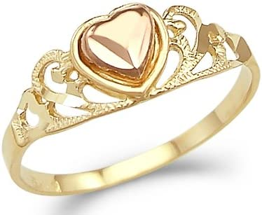 Sonia Jewels 14k Yellow Rose Gold 2 Two Tone Ladies Heart Love Ring