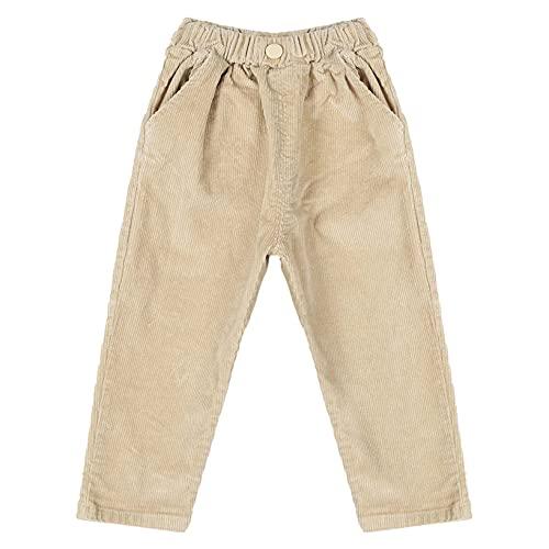 Kaerm Toddler Baby Boy Elastic Sweatpants Corduroy Cargo Pants Pull On Jogger Leggings with Pockets Beige 9-12 Months