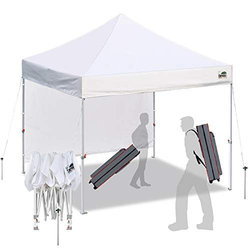 Eurmax Smart 10'x10' Pop up Canopy Tent Canopy with 1 Side Wall Outdoor Festival Tailgate Event Vendor Craft Show Canopy and Backpack Roller Bag Bouns 4X Stakes(White)