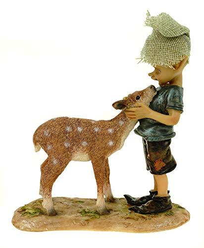 Joh. Vogler GmbH Bambi und ich Pixie streichelt Rehkitz 15 cm Figur Kobold Fee Fabelwesen