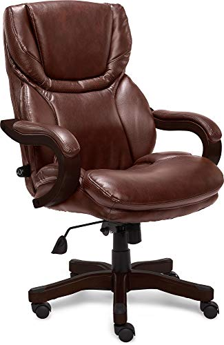 Serta Big and Tall Executive Office Chair with Wood Accents Adjustable High Back Ergonomic Lumbar Support, Bonded Leather, Chestnut Brown