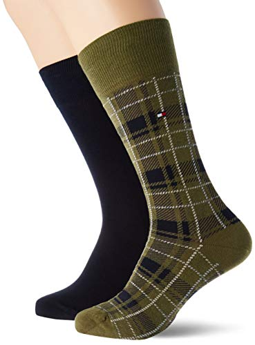 Tommy Hilfiger Mens TH 2P Tartan Socks, Olive, 43/46 (2er Pack)