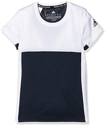 adidas Camiseta T16 Climacool tee, otoño/Invierno, niña, Color Azul Marino y Blanco, tamaño 140