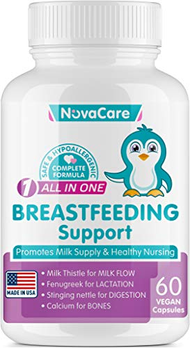 NovaCare Breastfeeding Support - Lactation Supplement with Fenugreek & Milk Thistle (60 Vegan Capsules) - Made in USA - Postnatal Vitamins for Milkflow - Calcium & Stinging Nettle Extract