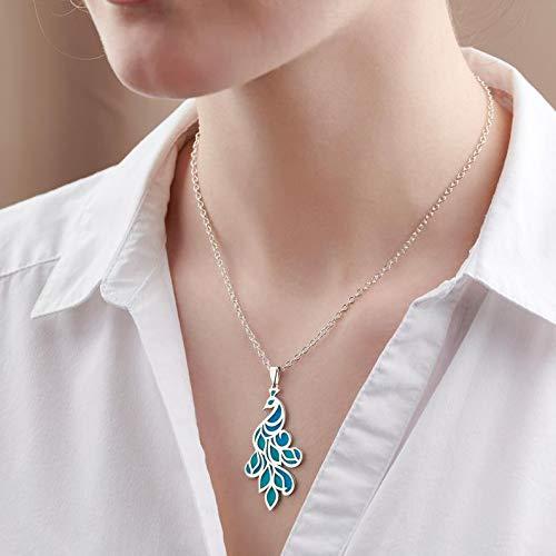 Splendida collana con ciondolo a forma di pavone, in argento Sterling, con smalto colorato trasparente