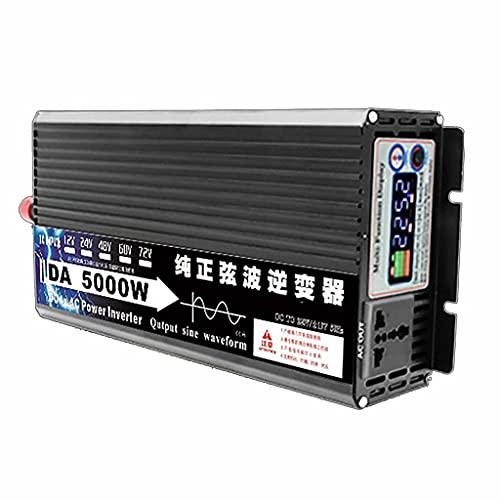 SJZD Inversor Inteligente de Onda sinusoidal Pura, 12V / 24V / 48V / 60V a 220V, 3000W-8000W Opcional, Alta Potencia para Viajes al Aire Libre en vehículos recreativos, 5000W-72V