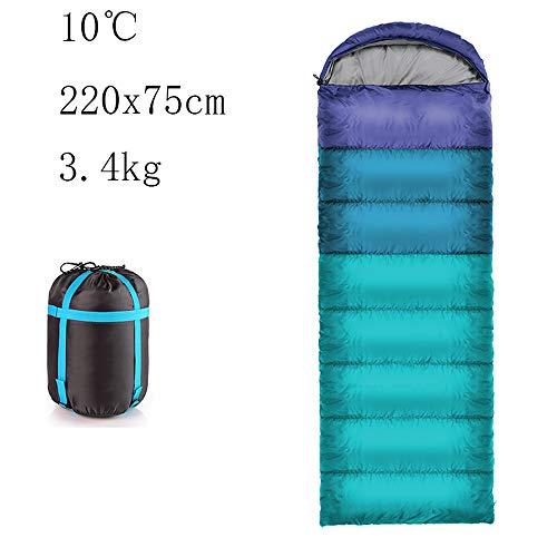 Sac de Couchage de Plein air pour Adultes - Coupe Fine - pour Les Saisons - pour Les Voyages - 20 °C Environ, Blau 2, (190+30)×75cm