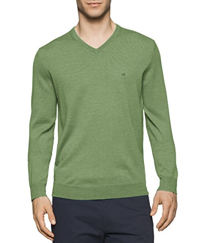 Calvin Klein Men's Merino Solid V-Neck Sweater, Italian Lime Mouline, Small