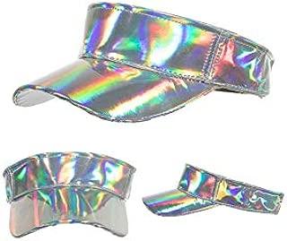 CHENDX Caps, Ladies Spring Summer New PU Light Edition Laser Top Sun Baseball Cap (Color : Silver, Size : 51CM)