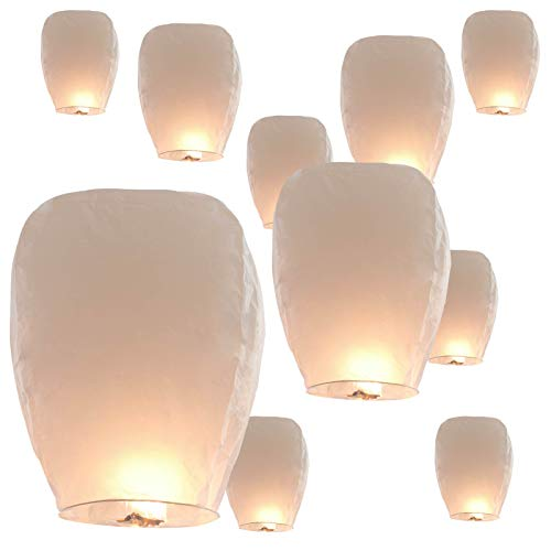 40 Pack Paper Lanterns Wishing Lights, 100% Biodegradable Environmentally Chinese Lanterns for Party, Birthday, New Years, Memorials, Ceremonies, Wedding Decorations