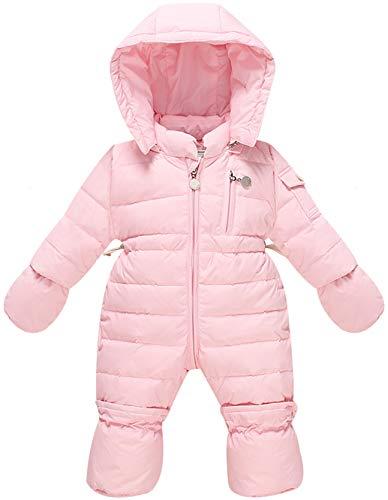 WESIDOM Newborn Baby Toddler Girls Boys Snowsuit Hooded Winter Romper Jumpsuit Coat Pink