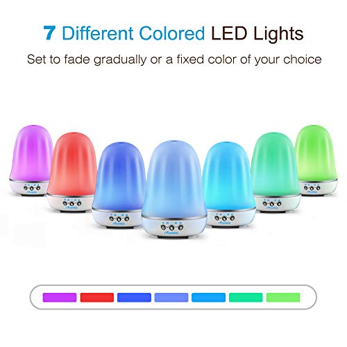 iTronics IT01 Essential Oil Diffuser 120ml Aroma Essential Oil Cool Mist Humidifier with Waterless Auto Shut-Off Adjustable Mist Mode and 7 Colors LED Light for Home Office Baby