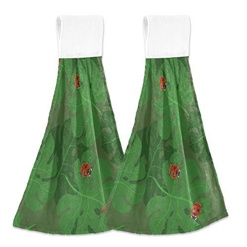 Ladybug 20200411 - Juego de 2 toallas de mano para baño, súper absorbentes para colgar, lavables con trabillas para colgar