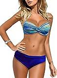 BLENCOT Bikini Due Pezzi Donna Costume da Bagno Donna Mare Bikini Brasiliana Donna Costume da Mare Bikini Estiva Donna Hot Sexy Costume da Mare Brasiliana Donna Bikini Slip Vita Bassa Azzurro M