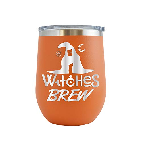 Witches Brew - Engraved 12 oz Stemless Wine Tumbler Cup Glass Etched - Funny Birthday Ideas for him her Halloween costume pumpkins halloweentown Witches (Orange - 12 oz)