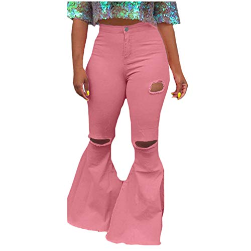 WUAI-Women Oversized Skinny Ripped Bell Bottom Jeans Plus Size High Waist Bootcut Classic Flared Jean Pants(Pink,XX-Large)
