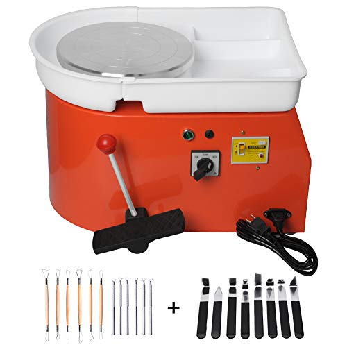 Gekufa Pottery Wheel Machine for Adults - 25CM 350W Electric Ceramic Work Clay Art DIY Clay Forming Machine with with Foot Pedal & Clay Shaping Tools