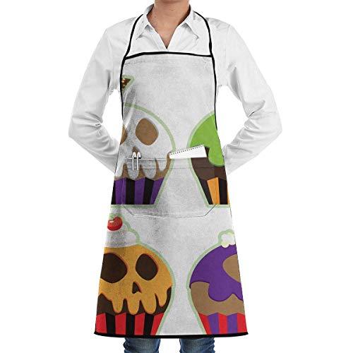 Lawenp Schürze dekorative Cupcakes Icing Schädel Halloween Chefs Küche Schürze Arbeit BBQ Gartenhaus mit Taschen