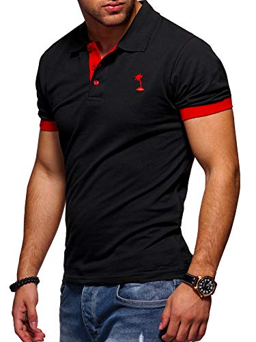 behype. Herren Kurzarm Basic Kontrast Polo-Shirt 20-0337 Schwarz-Rot 4XL
