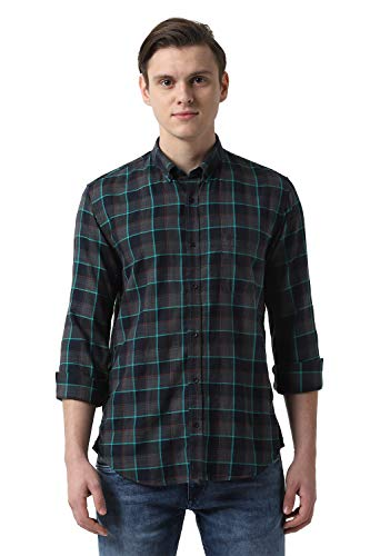 Peter England Men's Checkered Slim fit Casual Shirt (PCSFCSSPV40073_Grey 42)