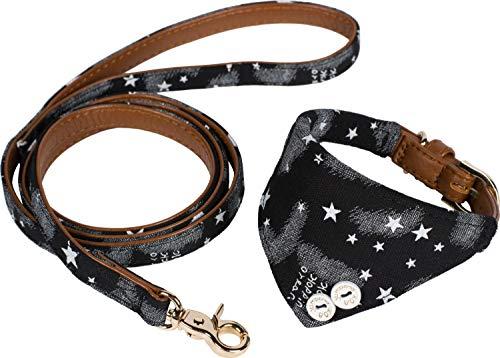 Puccybell Sterne Hundehalsband mit Tuch und Hundeleine (1,2m) im Set, Bandana Halsband und Leine für kleine und mittelgroße Hunde HLS007 (S, Schwarz)